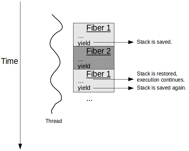 Multiple Fibers in a thread.